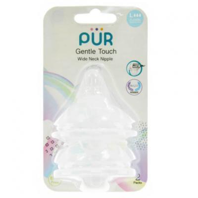 PUR จุกนม รุ่น Gentle Touch คอกว้าง ขนาดใหญ่ สำหรับเด็ก 6 เดือนขึ้นไป แพ็ค 2 ชิ้น
