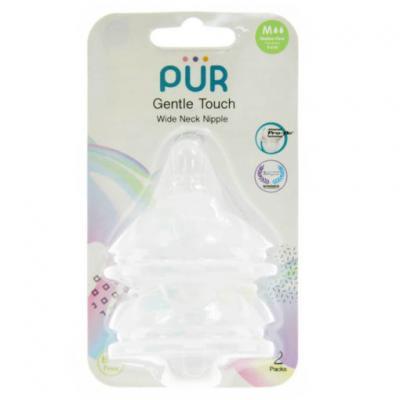 PUR จุกนม รุ่น Gentle Touch คอกว้าง ขนาดกลาง สำหรับเด็ก 3-6 เดือน แพ็ค 2 ชิ้น