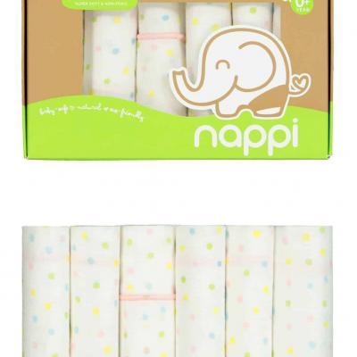 Nappi ผ้าเช็ดหน้าสาลูใยไผ่ 12 นิ้ว (6 ผืน)