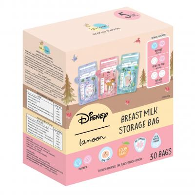 Lamoon x Disney ถุงเก็บน้ำนมแม่ ลายแบมบี้ดัมโบ้ 5 ออนซ์ 30 ชิ้น